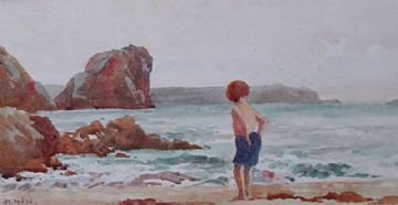 John Gutteridge Sykes Original Watercolour Painting Child At The Beach